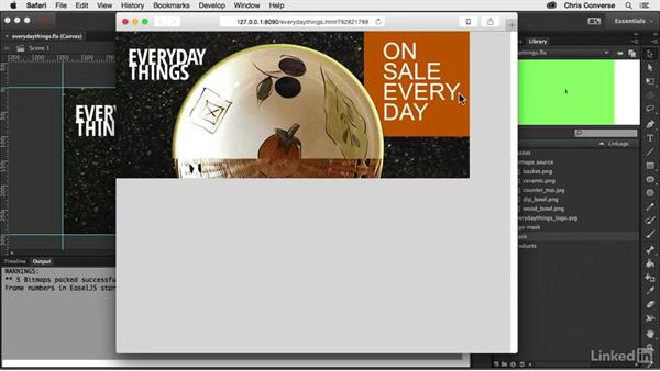 Testing your project in a browser: Creating an HTML5 Banner Ad with Animate CC