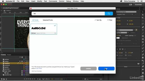 Using a Typekit web font: Creating an HTML5 Banner Ad with Animate CC