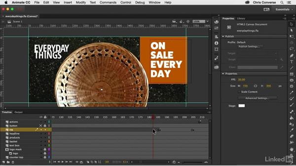 Animating the call-to-action symbol: Creating an HTML5 Banner Ad with Animate CC