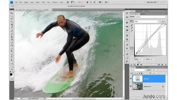 The Target Adjustment tool in Curves: Photoshop CS4 One-on-One: Advanced