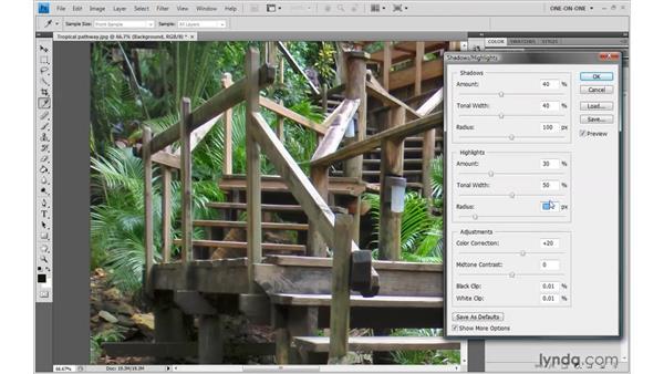 Radius and tonal width: Photoshop CS4 One-on-One: Advanced