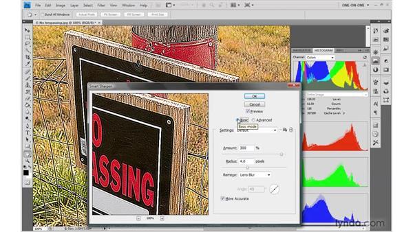 Saving Smart Sharpen settings: Photoshop CS4 One-on-One: Advanced