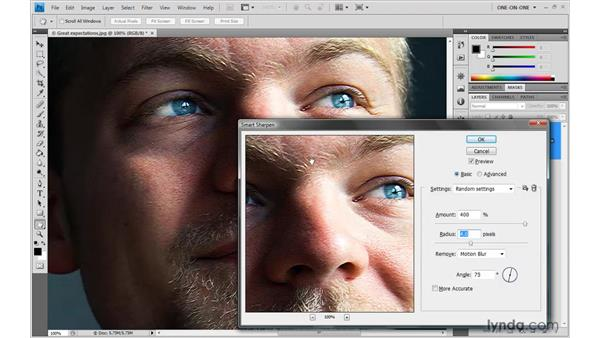 Accounting for camera shake: Photoshop CS4 One-on-One: Advanced