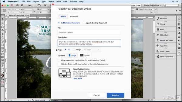 Publish your document: General settings: Publish Online with InDesign