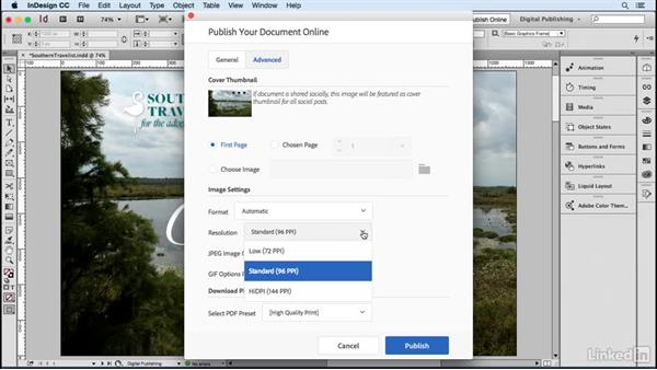 Publish your document: Advanced settings: Publish Online with InDesign