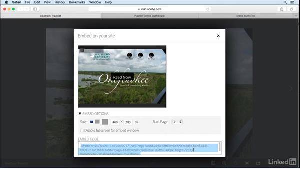 Embed projects in websites: Publish Online with InDesign