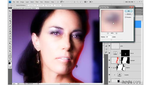 Diffusing focus with Blur and Overlay: Photoshop CS4 One-on-One: Advanced