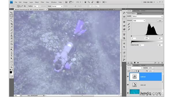 Making shadows with Levels: Photoshop CS4 One-on-One: Advanced