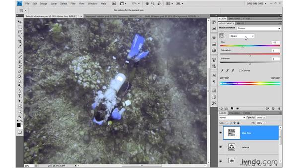 Applying small color adjustments: Photoshop CS4 One-on-One: Advanced