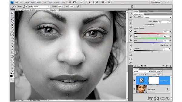 Masking an adjustment layer: Photoshop CS4 One-on-One: Advanced