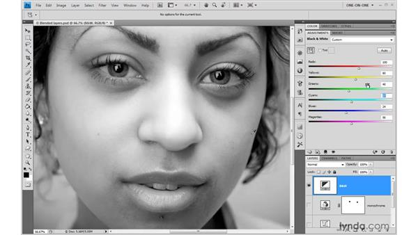 The Target Adjustment tool in black and white: Photoshop CS4 One-on-One: Advanced