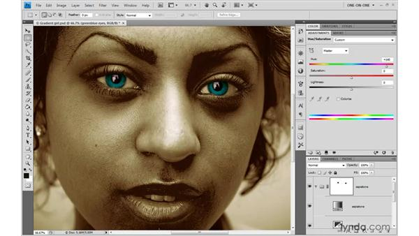 Infusing elements with different colors: Photoshop CS4 One-on-One: Advanced