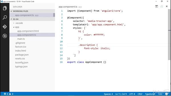 Styling a component: Angular 2 Essential Training (2016)