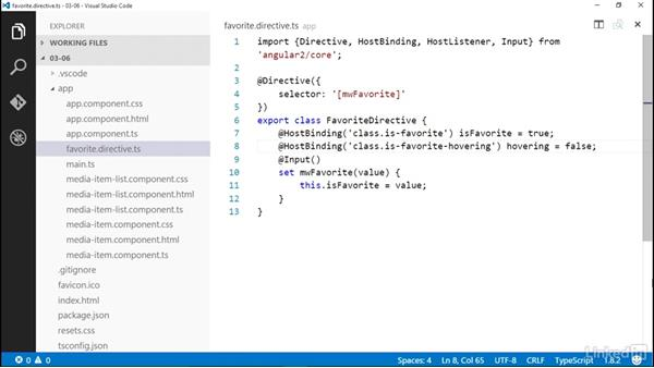 Working with events in directives: Angular 2 Essential Training (2016)