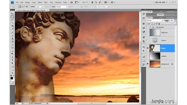 Changing the Opacity value: Photoshop CS4 One-on-One: Advanced