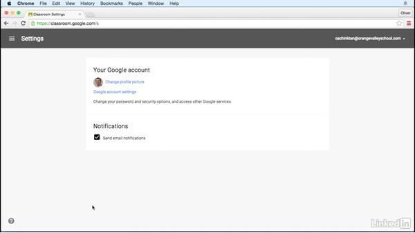 Account settings: Learn Google Classroom 2016