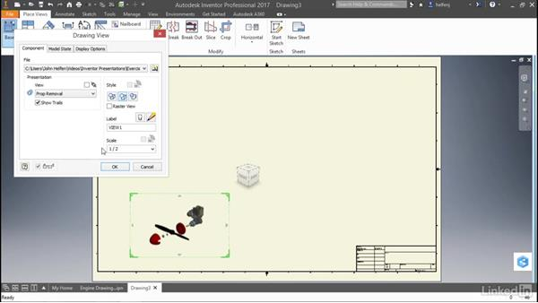 Create a drawing view: Autodesk Inventor: Presentations