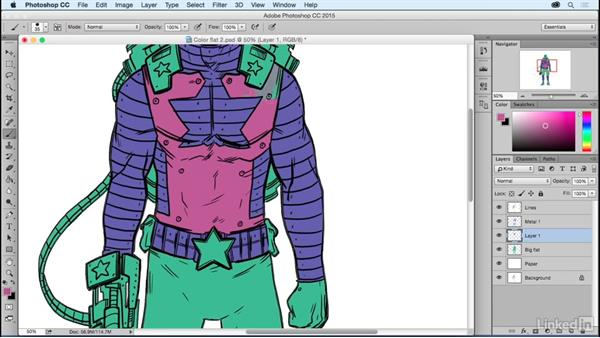 Color flatting: Part two: Photoshop: Coloring Comic Book Characters