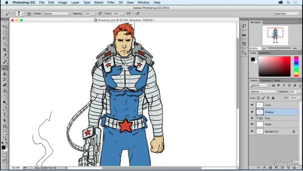Adding simple shading: Photoshop: Coloring Comic Book Characters