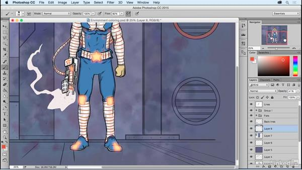 Coloring and texturizing the background: Photoshop: Coloring Comic Book Characters