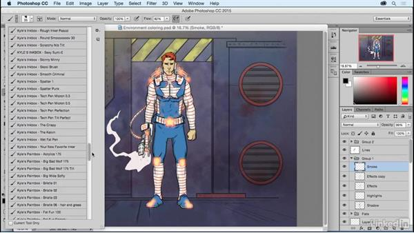 Adding shadows and effects to the environment: Photoshop: Coloring Comic Book Characters