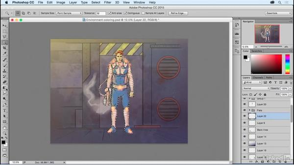 Adding shadows and highlights to the final scene: Photoshop: Coloring Comic Book Characters