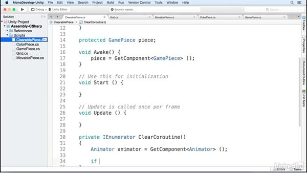 The clearable component: Build a Match 3 Game with Unity