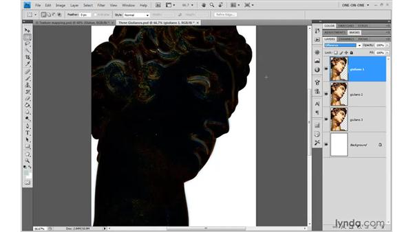 Using difference for golden highlights: Photoshop CS4 One-on-One: Advanced