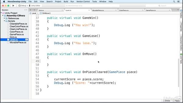 Trigger level functions: Build a Match 3 Game with Unity