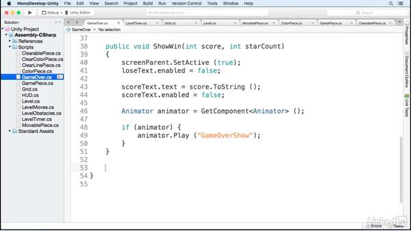 Script the game over screen: Build a Match 3 Game with Unity