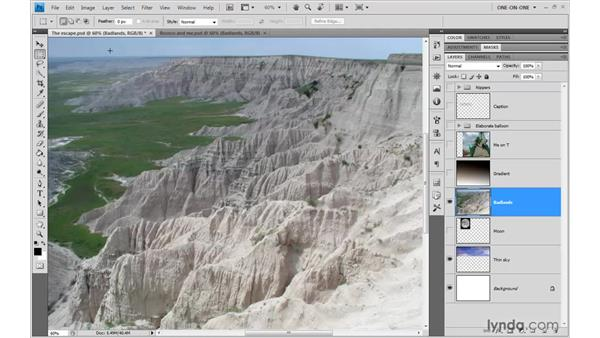 Moving a layer a specific number of pixels: Photoshop CS4 One-on-One: Advanced