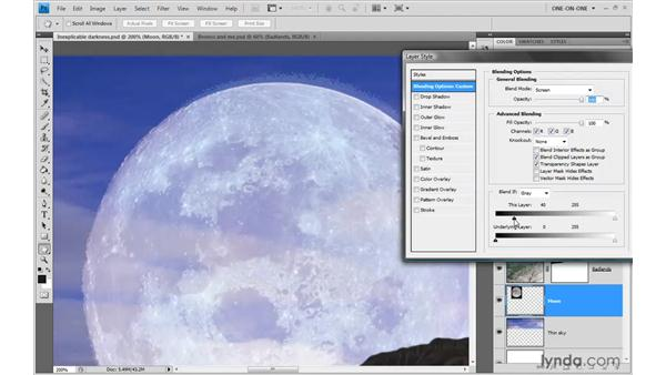 Using the luminance blending sliders: Photoshop CS4 One-on-One: Advanced
