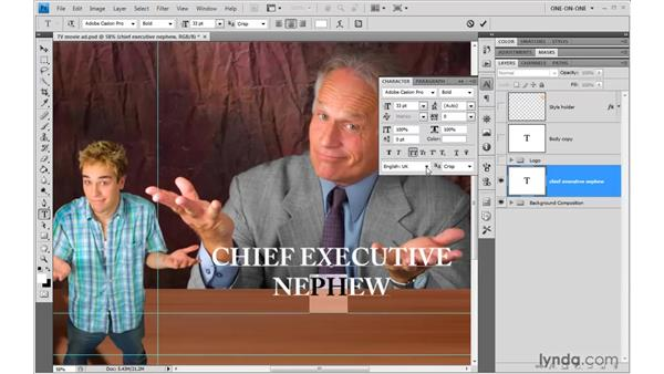 Editing size and leading: Photoshop CS4 One-on-One: Advanced