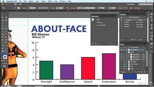 Using appearance attributes to simplify: Adobe Illustrator Variable Data