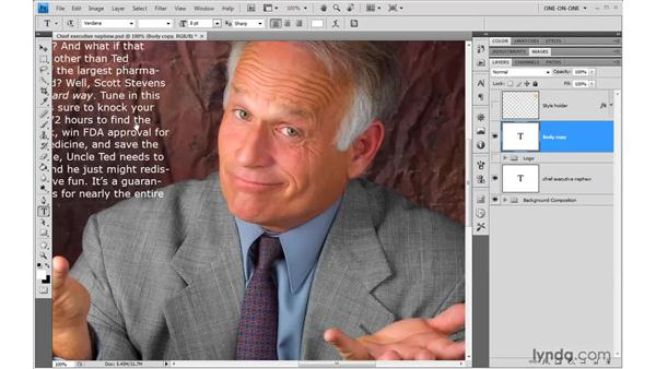 Creating a layer of area text: Photoshop CS4 One-on-One: Advanced
