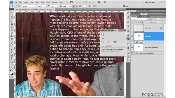 Resizing the text frame: Photoshop CS4 One-on-One: Advanced