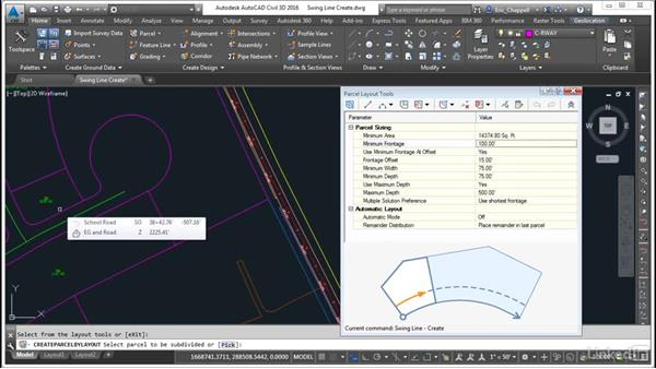 Create parcels: Swing Line Create: AutoCAD Civil 3D: Designing Residential Projects