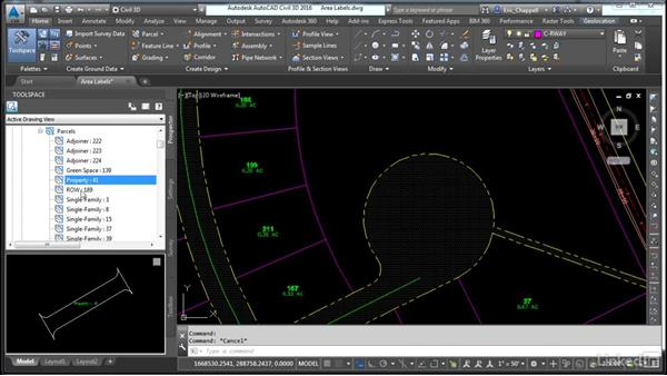 Apply parcel area labels: AutoCAD Civil 3D: Designing Residential Projects