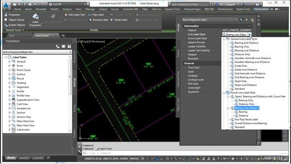 Edit segment labels through styles: AutoCAD Civil 3D: Designing Residential Projects