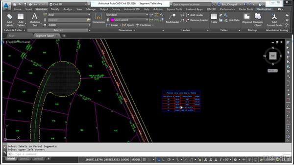 Create a parcel segment table: AutoCAD Civil 3D: Designing Residential Projects
