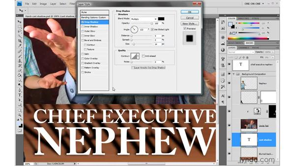 Blurred shadows and beveled text: Photoshop CS4 One-on-One: Advanced