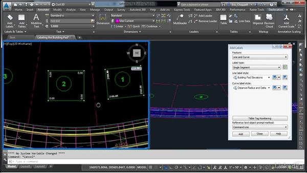 Label the building pad: AutoCAD Civil 3D: Designing Residential Projects