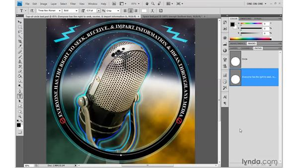 Flipping text across a circle: Photoshop CS4 One-on-One: Advanced