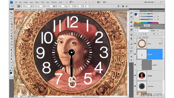 Rotating the first clock hand: Photoshop CS4 One-on-One: Advanced