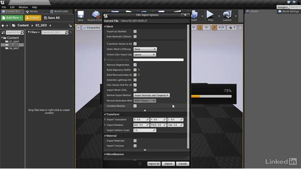 Importing geometry into UE4: Realtime Motion Graphics with Unreal Engine 4