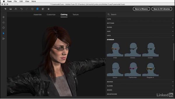 Adding and removing eyewear: Learn Adobe Fuse CC: The Basics