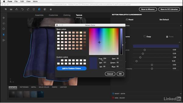 Changing an object's color: Learn Adobe Fuse CC: The Basics