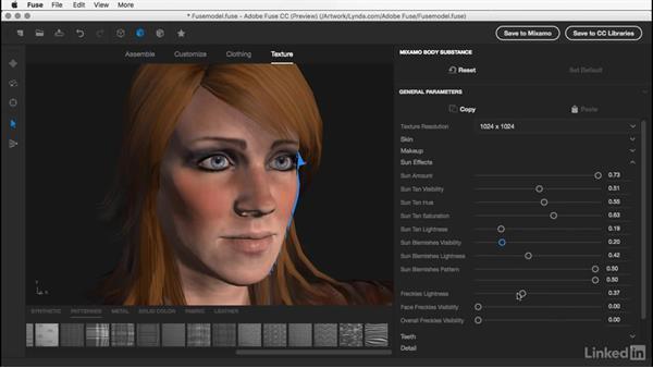 Customizing skin texture: Learn Adobe Fuse CC: The Basics