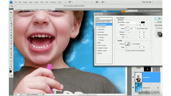 Effects vs. styles: Photoshop CS4 One-on-One: Advanced