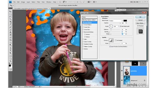 Everything about drop shadow: Photoshop CS4 One-on-One: Advanced